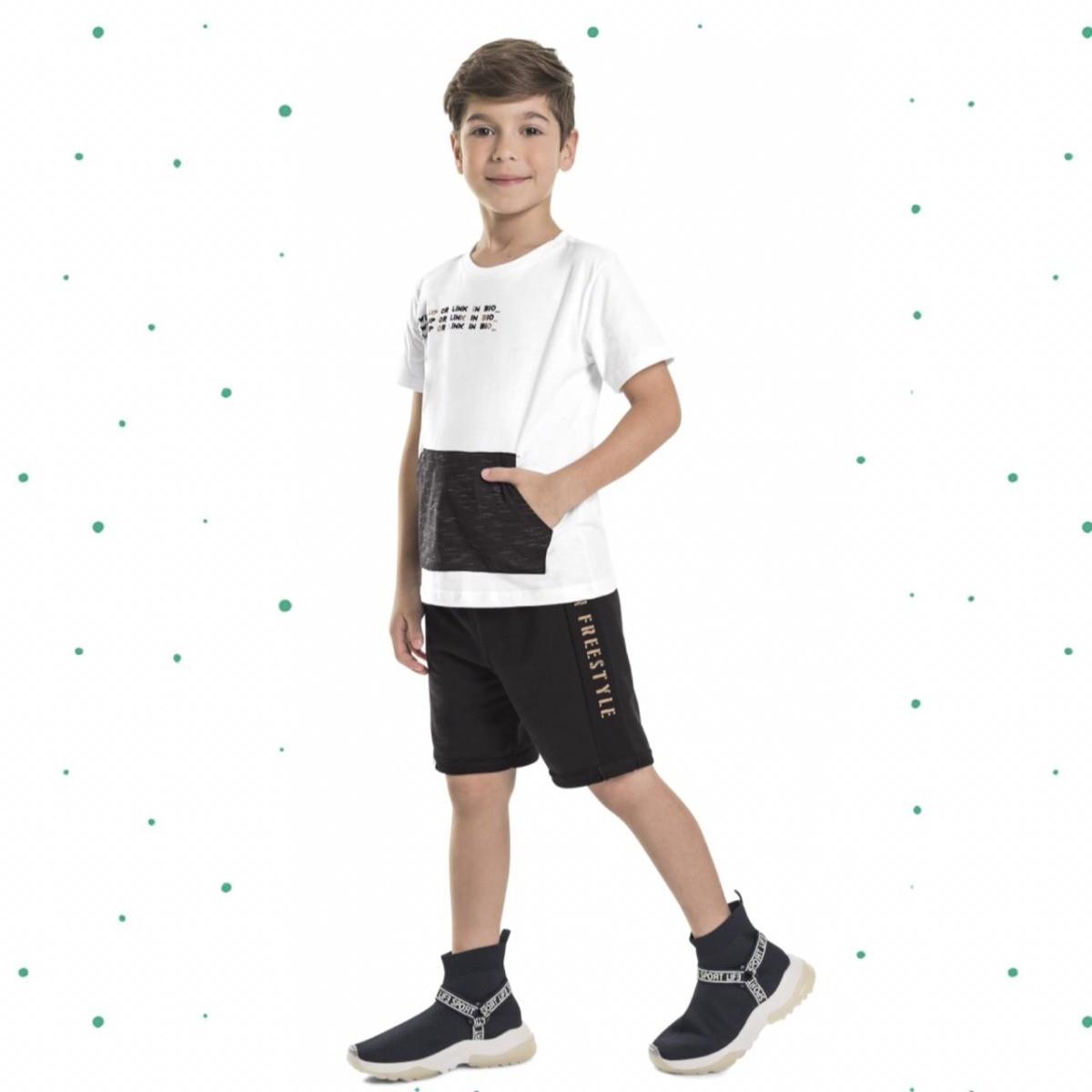 Conjunto Menino Quimby Camiseta Algodão c/ Bolso Bermuda Moletom