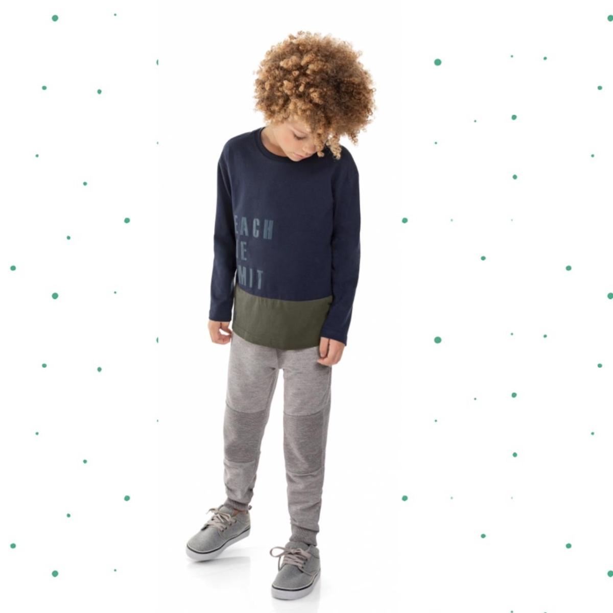 Conjunto Menino Quimby Camiseta Algodão Calça Moletom Leve