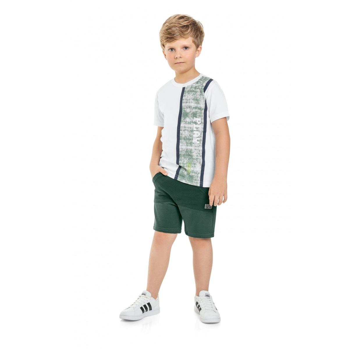 Conjunto Menino Quimby Camiseta e Bermuda - Branco