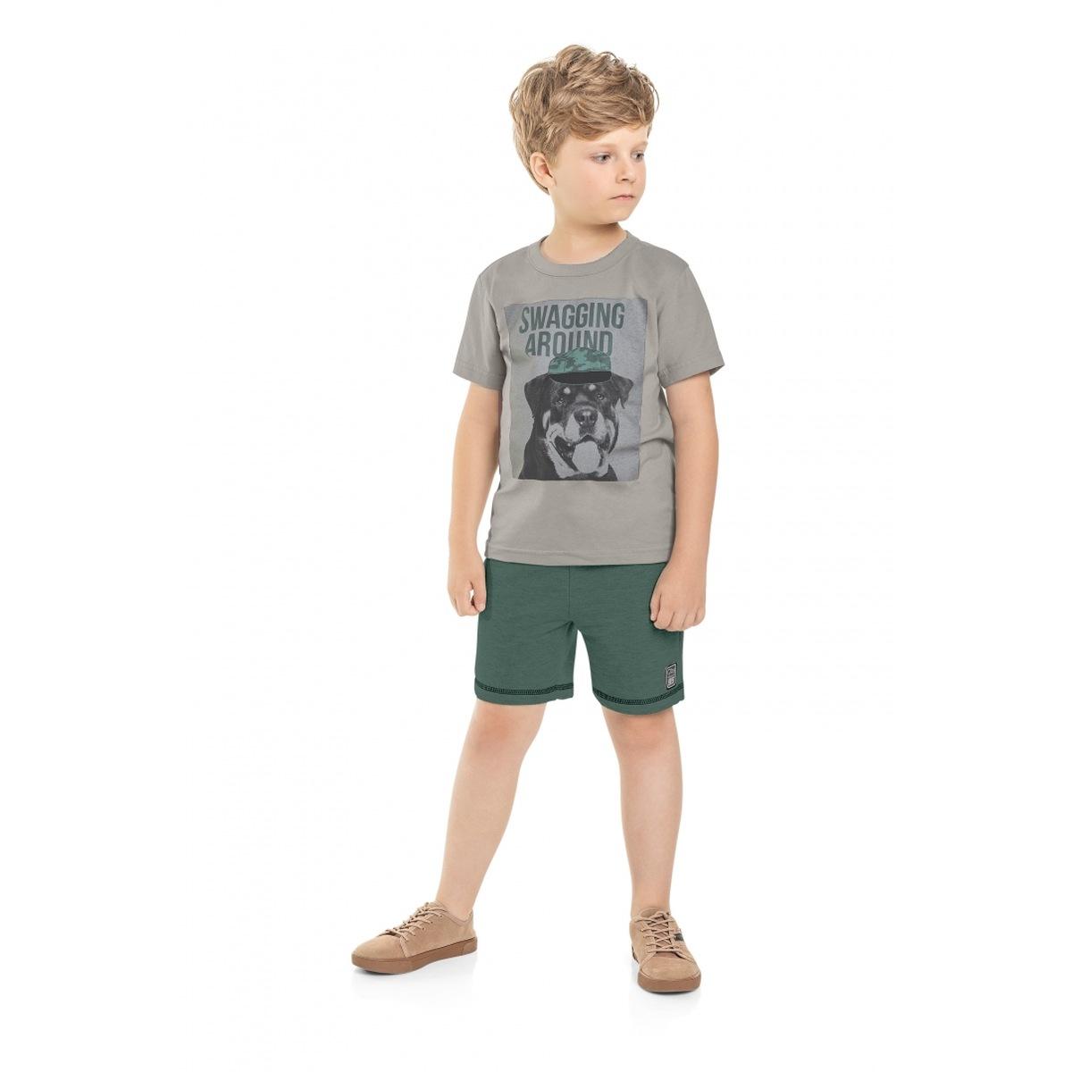 Conjunto Menino Quimby Camiseta e Bermuda em Moletom