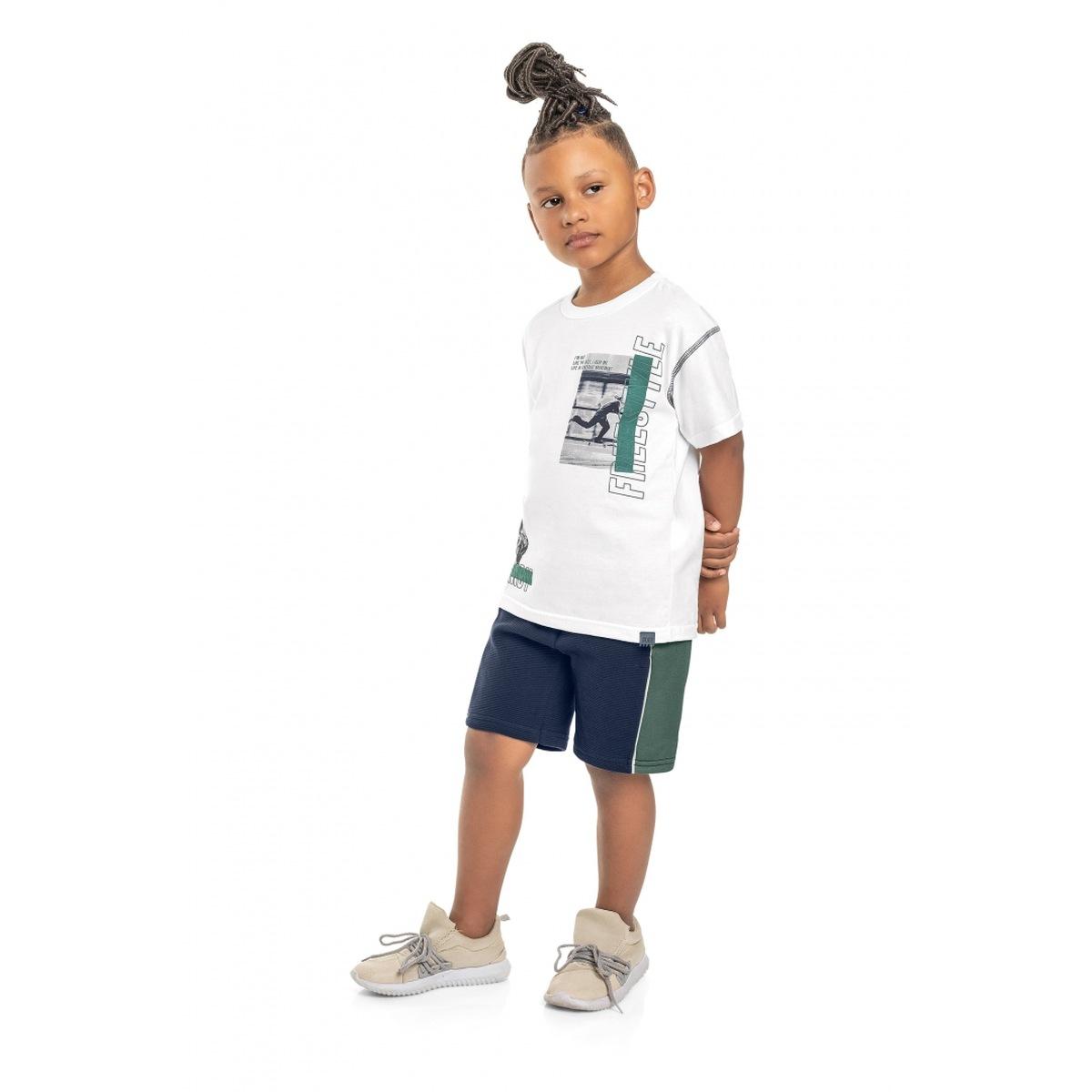 Conjunto Menino Quimby Camiseta e Bermuda em Moletom - Branco