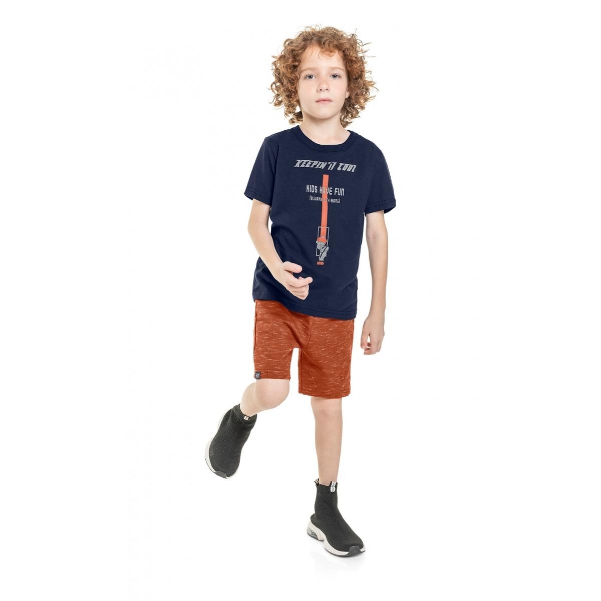Conjunto Menino Quimby Camiseta e Bermuda em Moletom Jet White