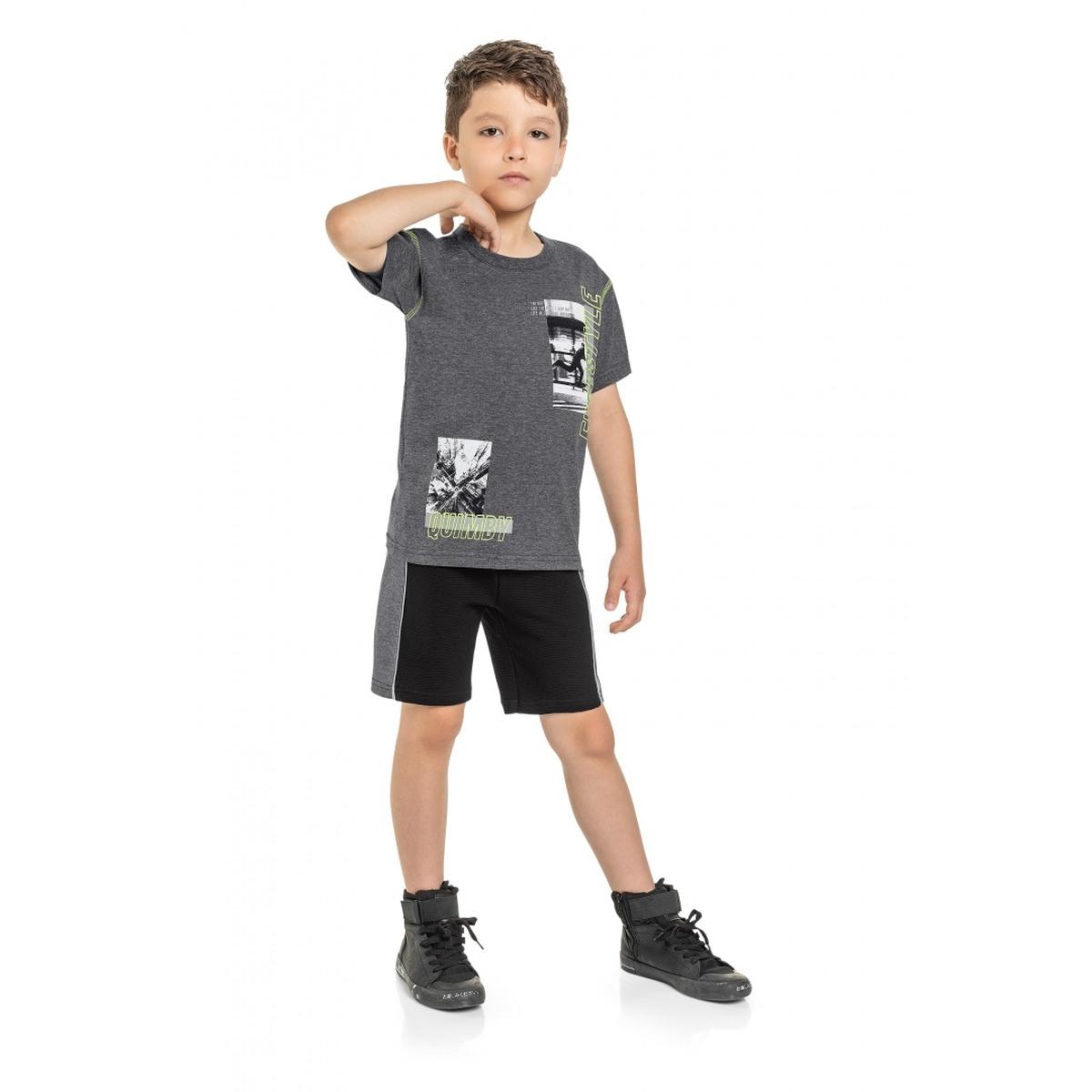 Conjunto Menino Quimby Camiseta e Bermuda em Moletom- Mescla