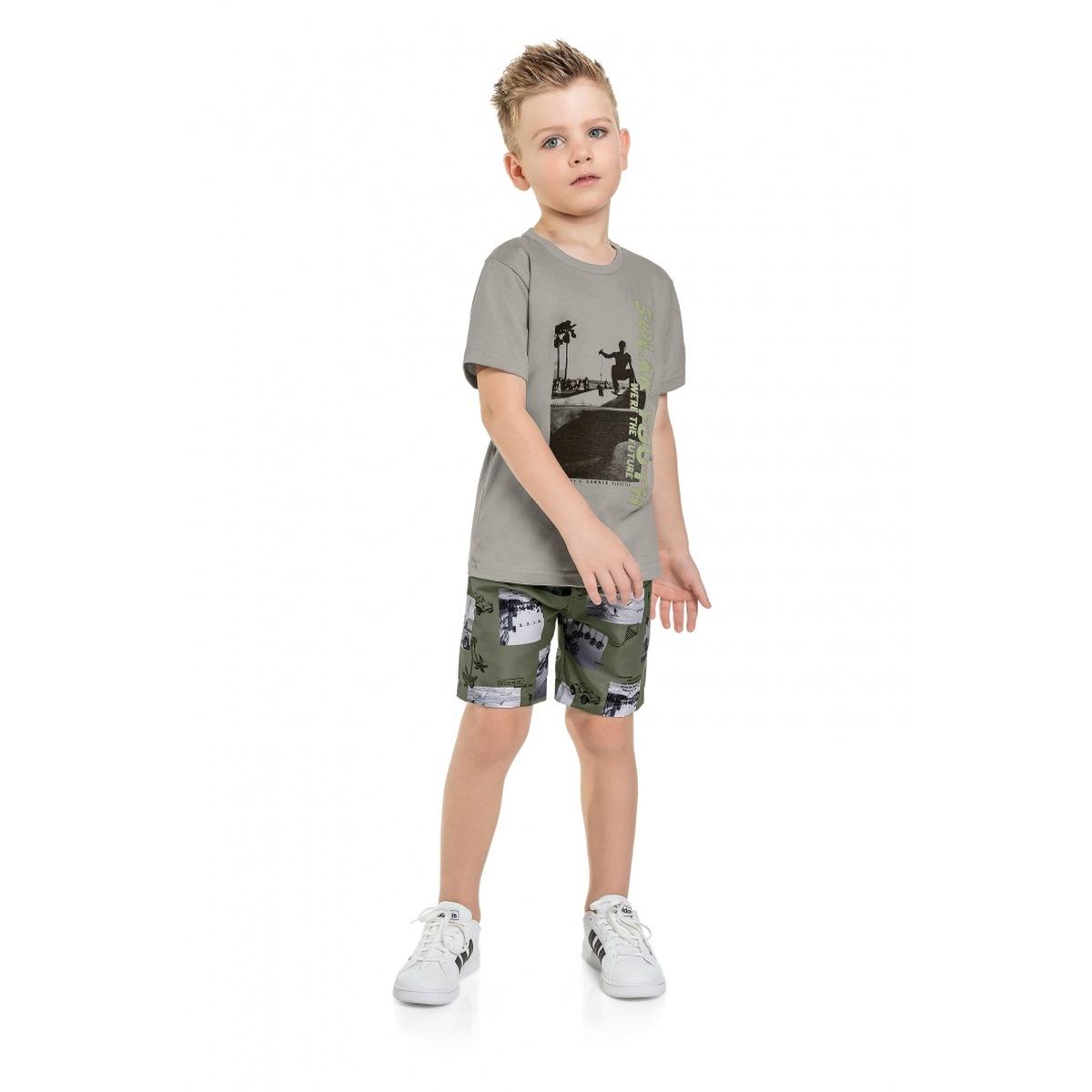 Conjunto Menino Quimby Camiseta e Bermuda Microfibra - Mescla Grafite