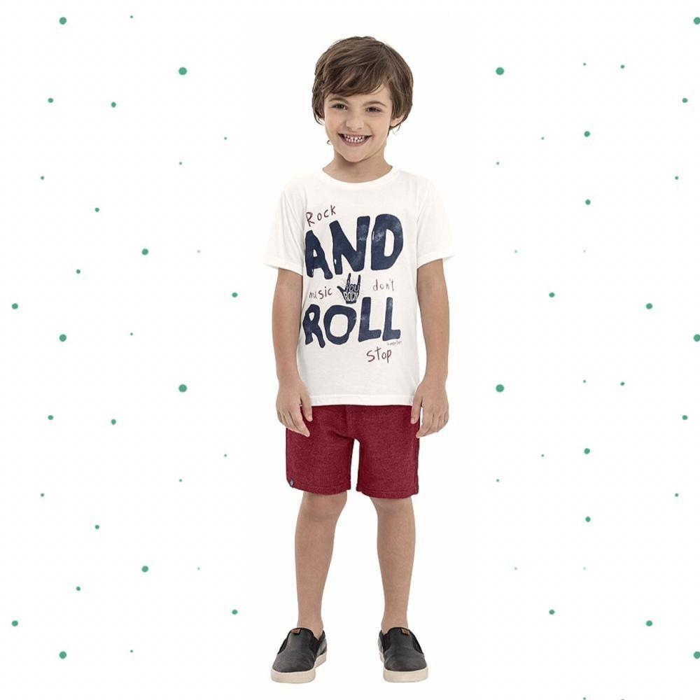 Conjunto Menino Quimby Camiseta em Algodão Bermuda em Moletinho Tricô