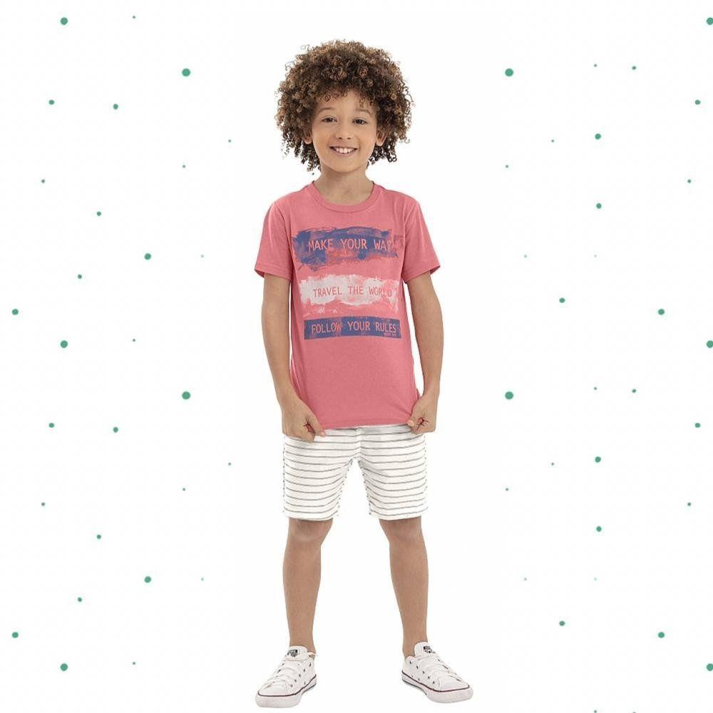 Conjunto Menino Quimby Camiseta em Algodão e Bermuda