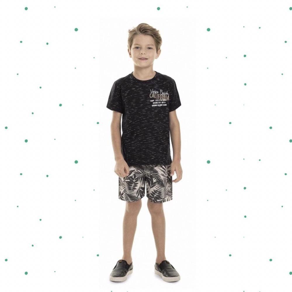 Conjunto Menino Quimby Camiseta em Algodão e Bermuda em Microfibra