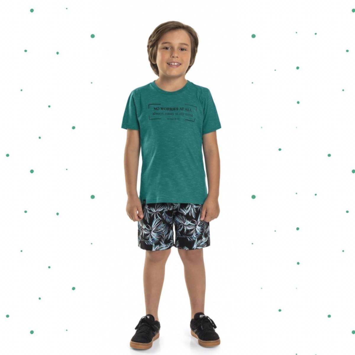 Conjunto Menino Quimby Camiseta em Algodão e Bermuda em Microfibra Sublimada