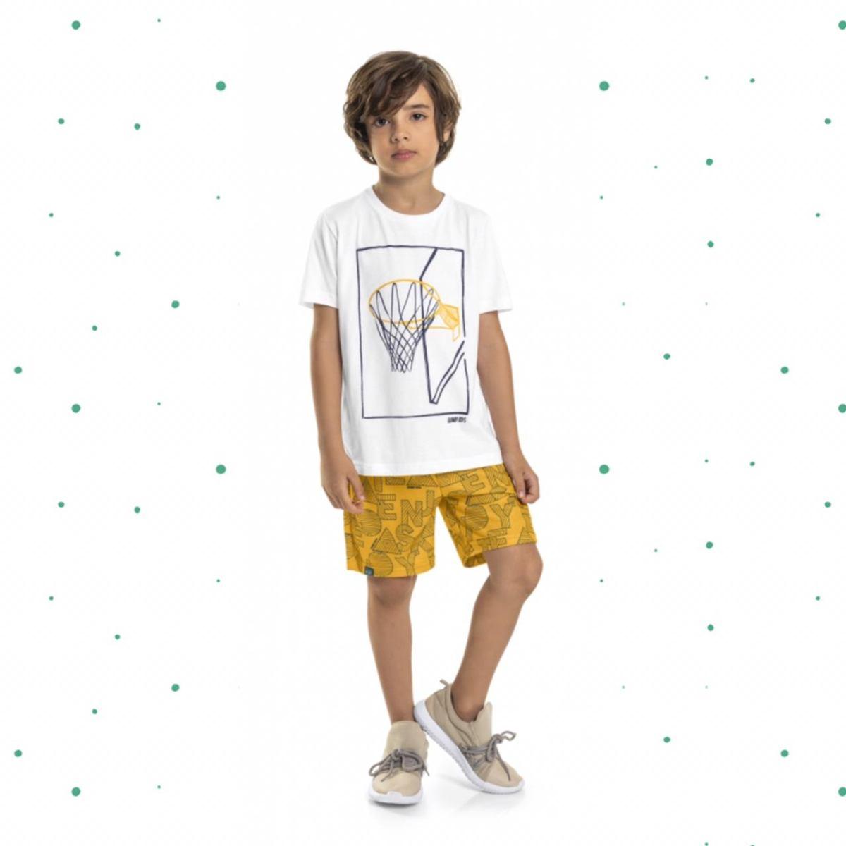 Conjunto Menino Quimby Camiseta em Algodão e Bermuda em Moletinho