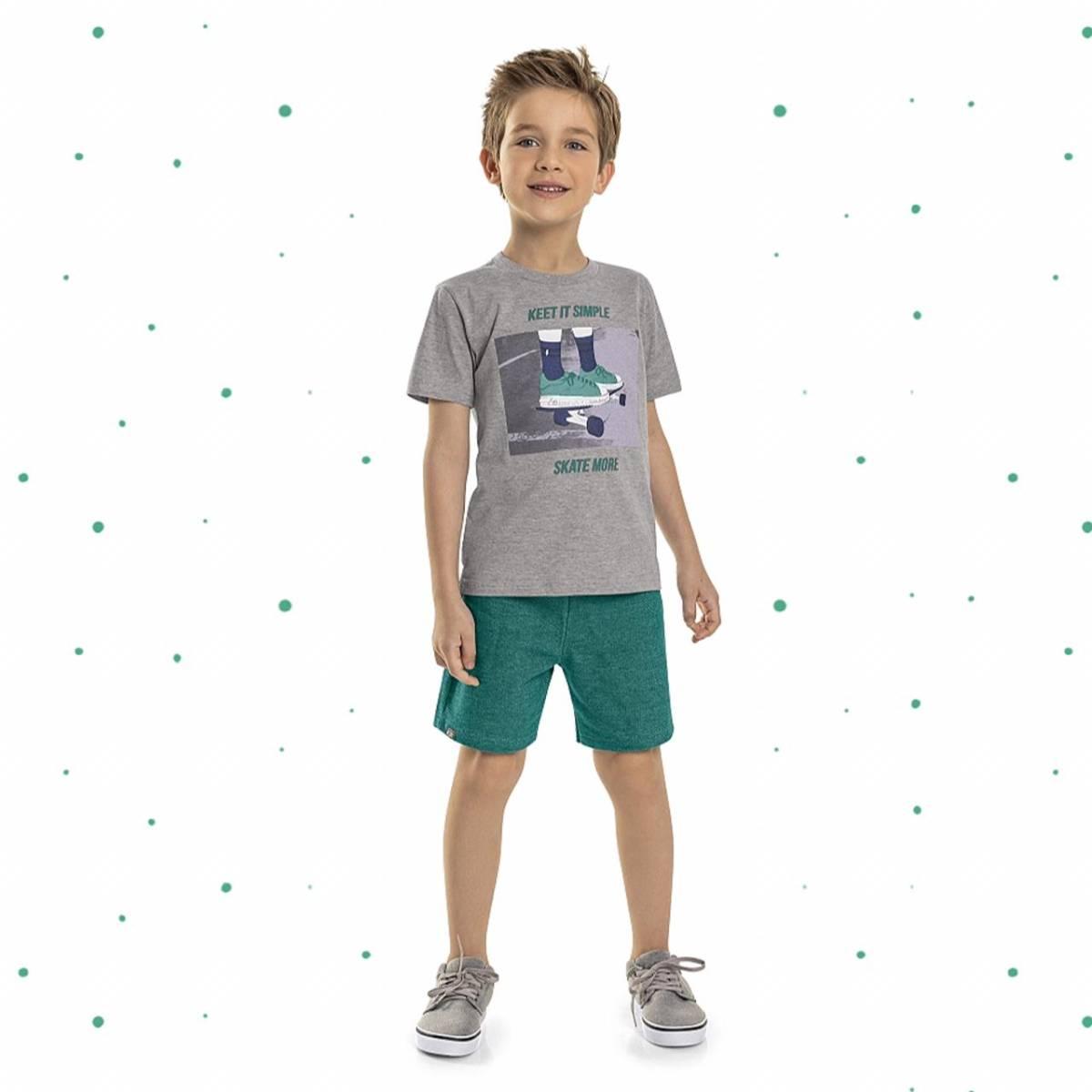 Conjunto Menino Quimby Camiseta em Algodão e Bermuda em Moletinho Sarjado