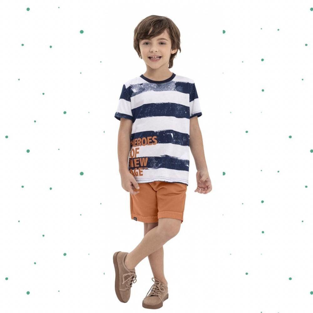Conjunto Menino Quimby Camiseta em Algodão e Bermuda em Moletom