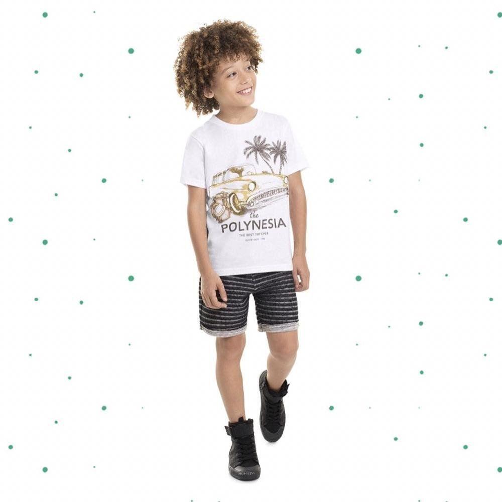 Conjunto Menino Quimby Camiseta em Algodão e Bermuda em Moletom cor Branco