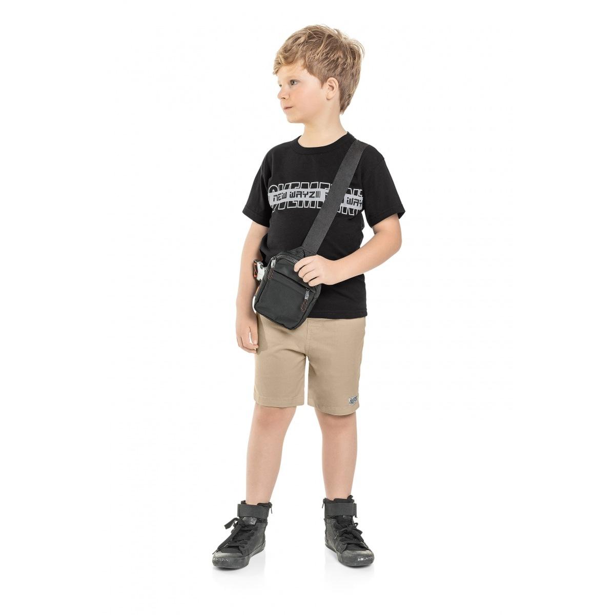 Conjunto Menino Quimby Camiseta em Algodão e Bermuda Sarja