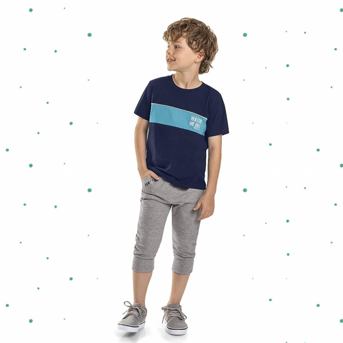 Conjunto Menino Quimby Camiseta em Algodão e Jogger em Moletinho