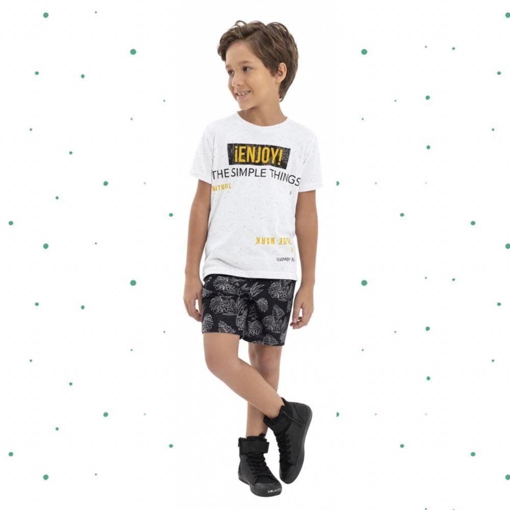 Conjunto Menino Quimby Camiseta em Malha Botonê Bermuda em Moletinho