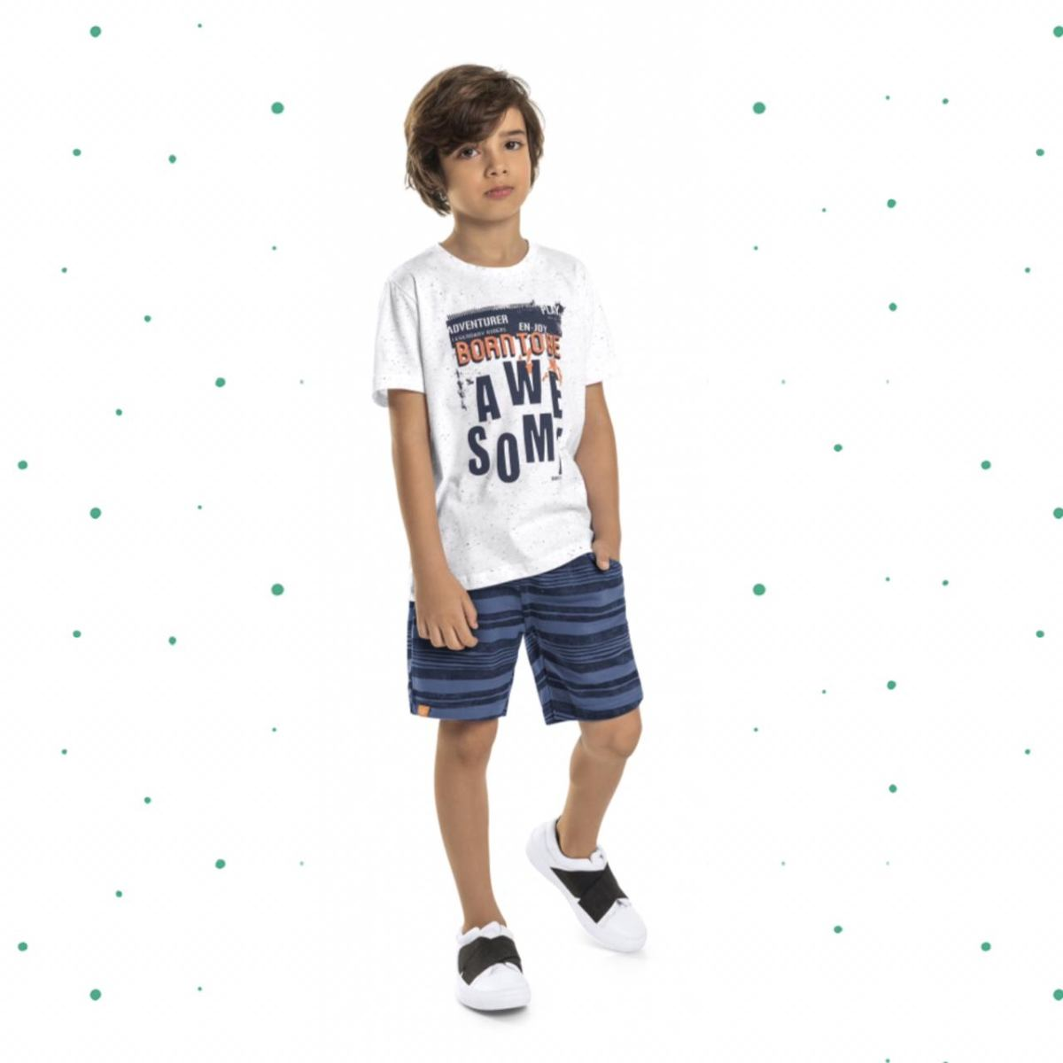 Conjunto Menino Quimby Camiseta em Malha Botonê e Bermuda em Moletinho