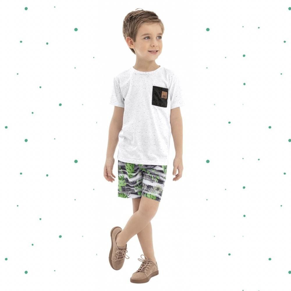 Conjunto Menino Quimby Camiseta em Malha e Bermuda em Micrifibra