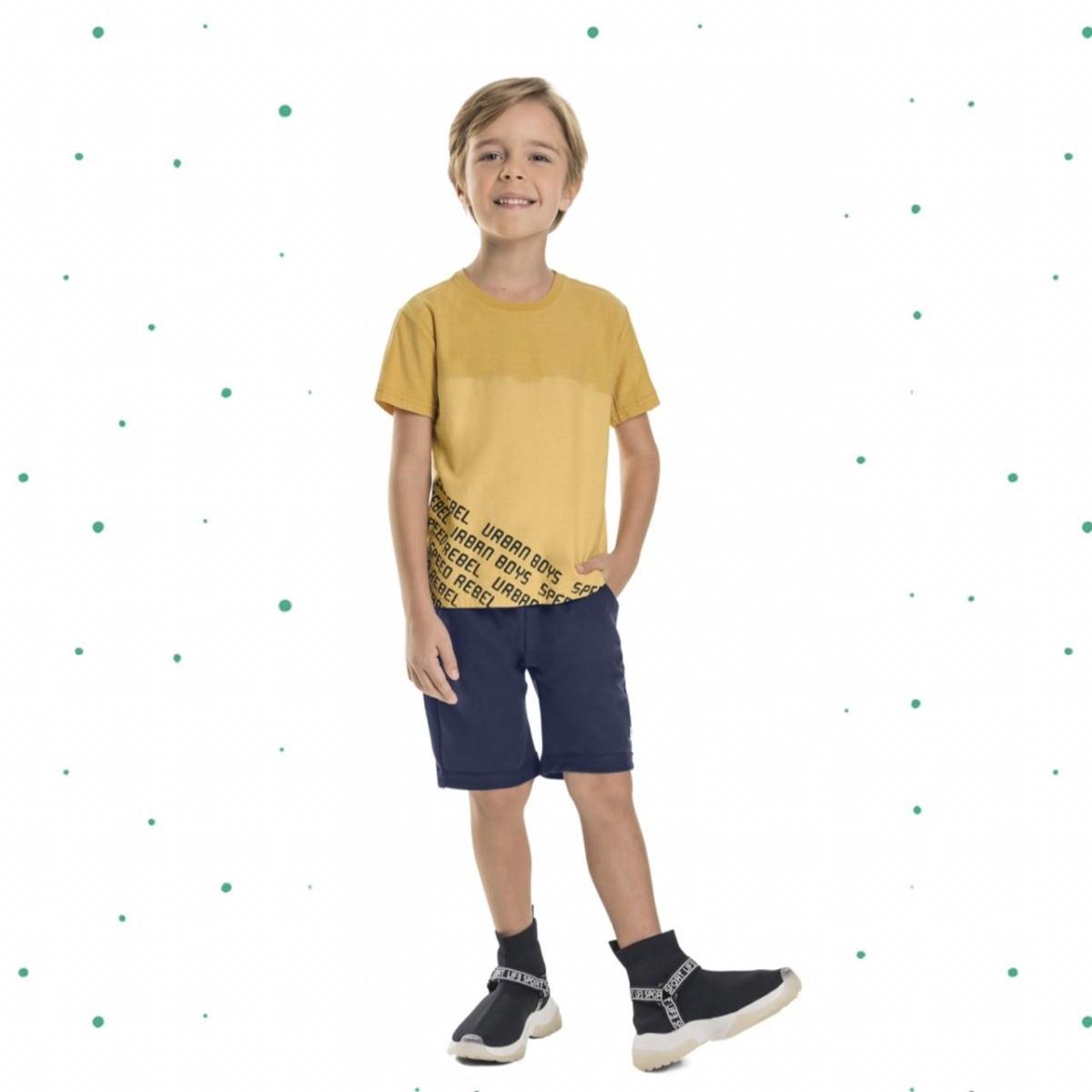 Conjunto Menino Quimby Camiseta Malha Flamê Bermuda Moletom