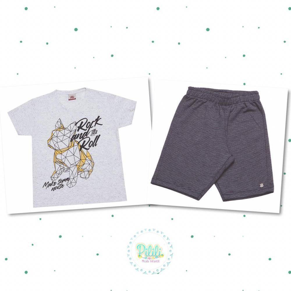 Conjunto Menino Tholokko Camiseta e Bermuda em Algodão
