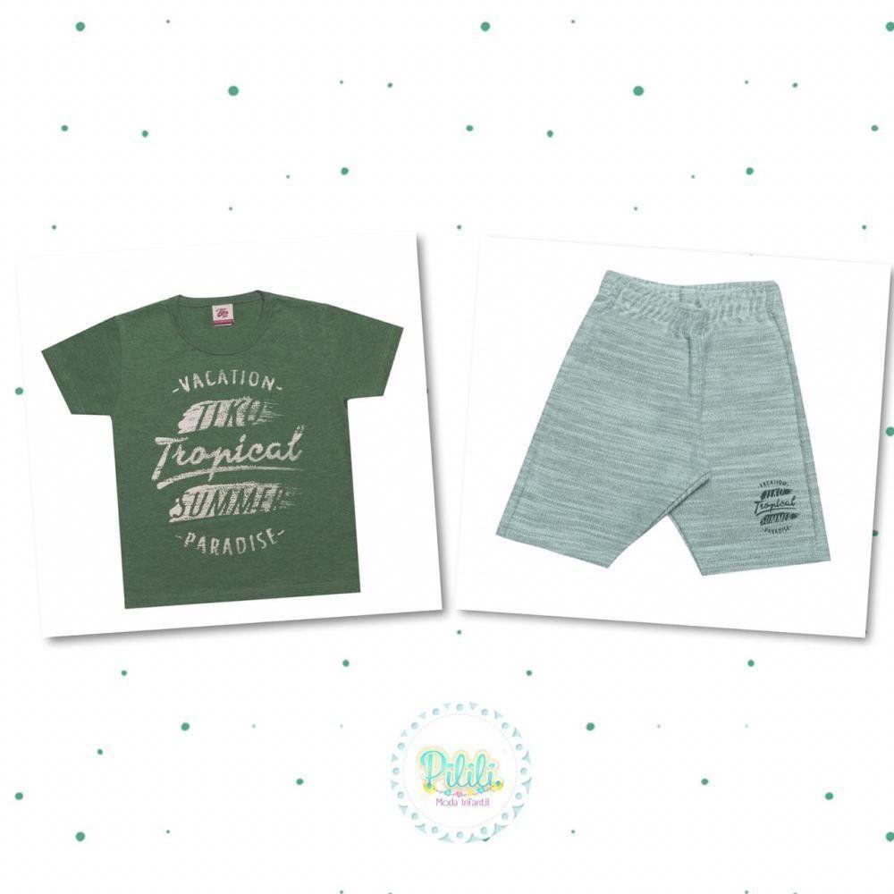 Conjunto Menino Tholokko Camiseta em 100% Algodão e Bermuda Moletom Verde