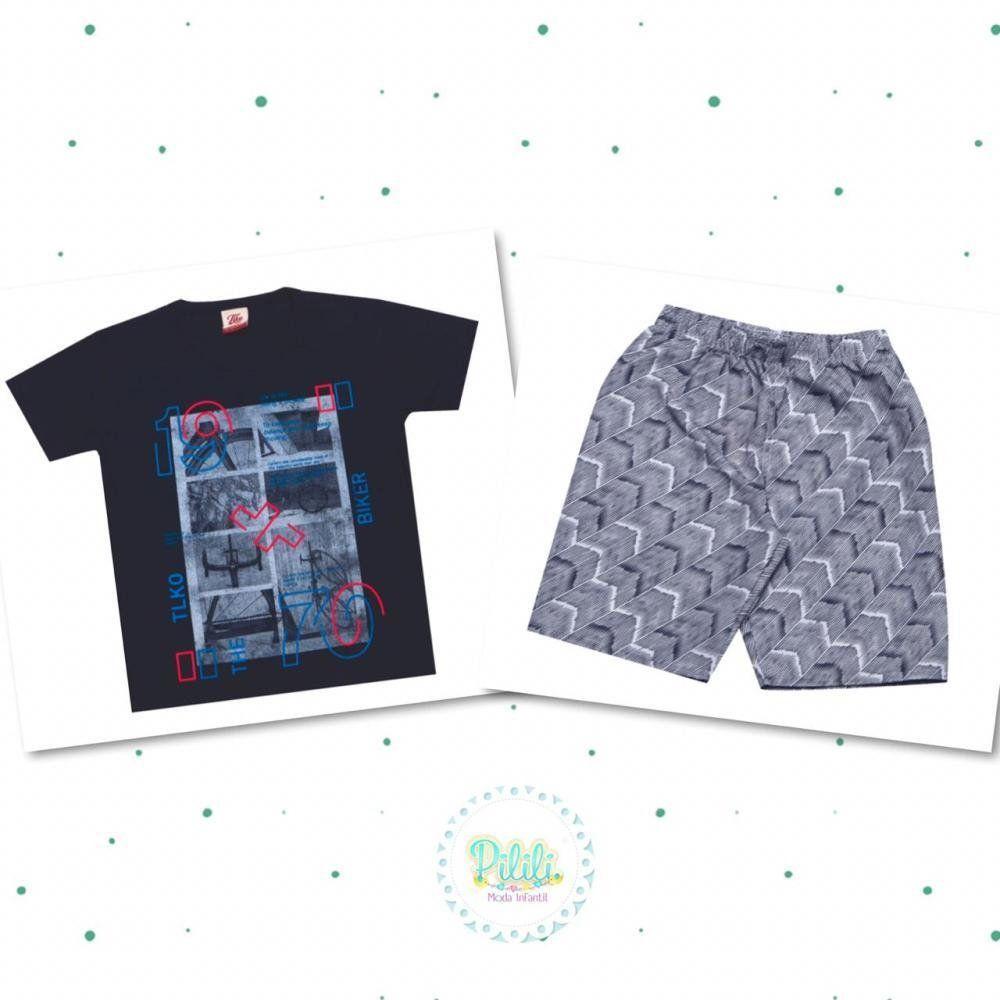 Conjunto Menino Tholokko Camiseta em Algodão e Bermuda em Microfibra