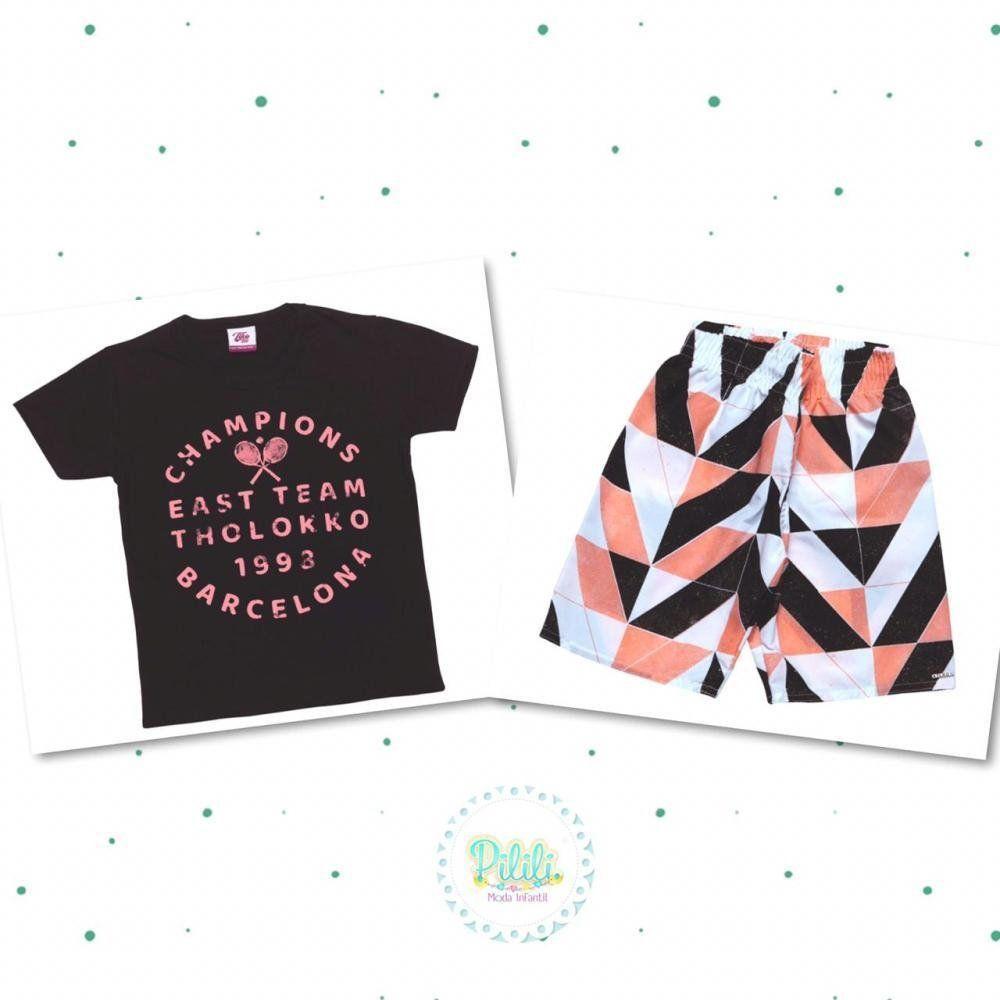 Conjunto Menino Tholokko Camiseta em Algodão e Bermuda Microfibra