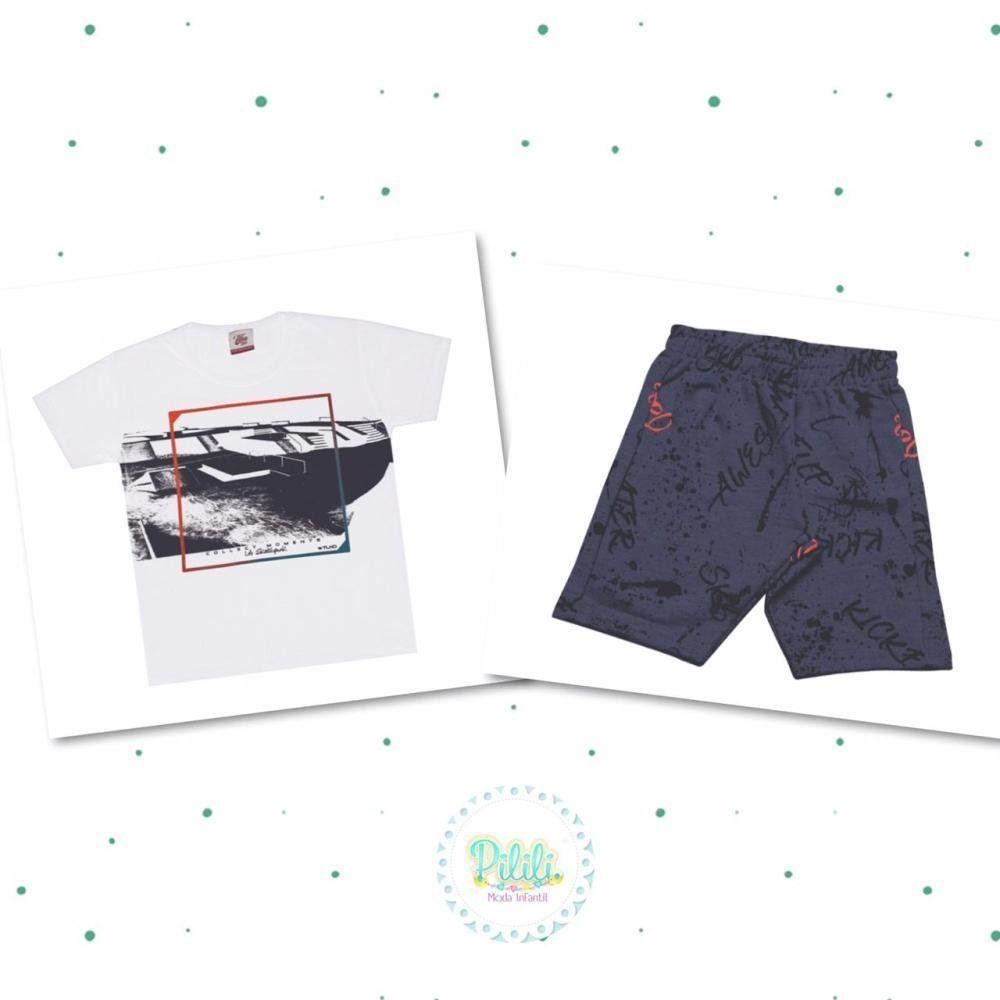 Conjunto Menino Tholokko Camiseta Estampada em Algodão e Bermuda Moletinho