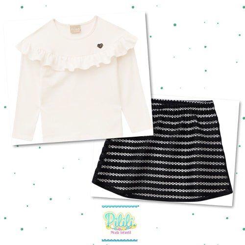 Conjunto Milon Blusa em Cotton e Saia com shorts