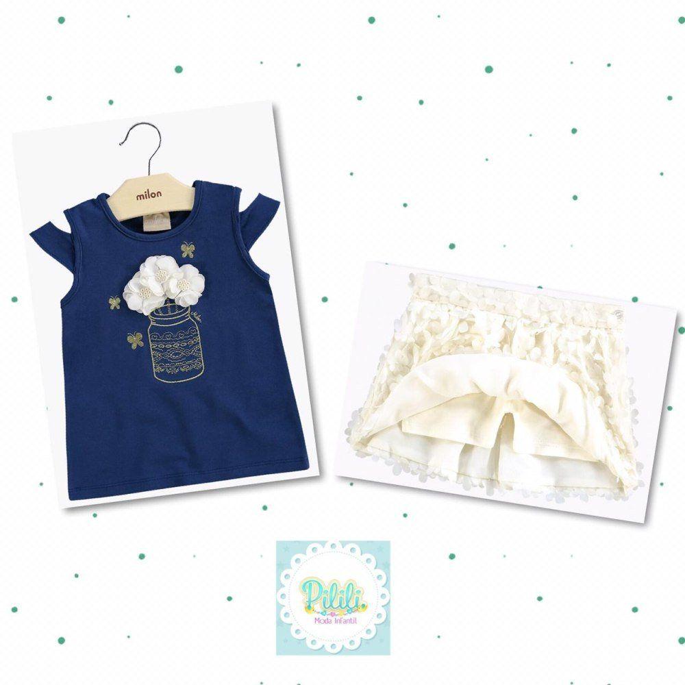 Conjunto Milon Blusa em Cotton e Saia em com Shorts Interno