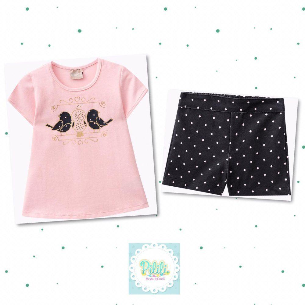 Conjunto Milon Blusa em Cotton e Shorts em Molicotton