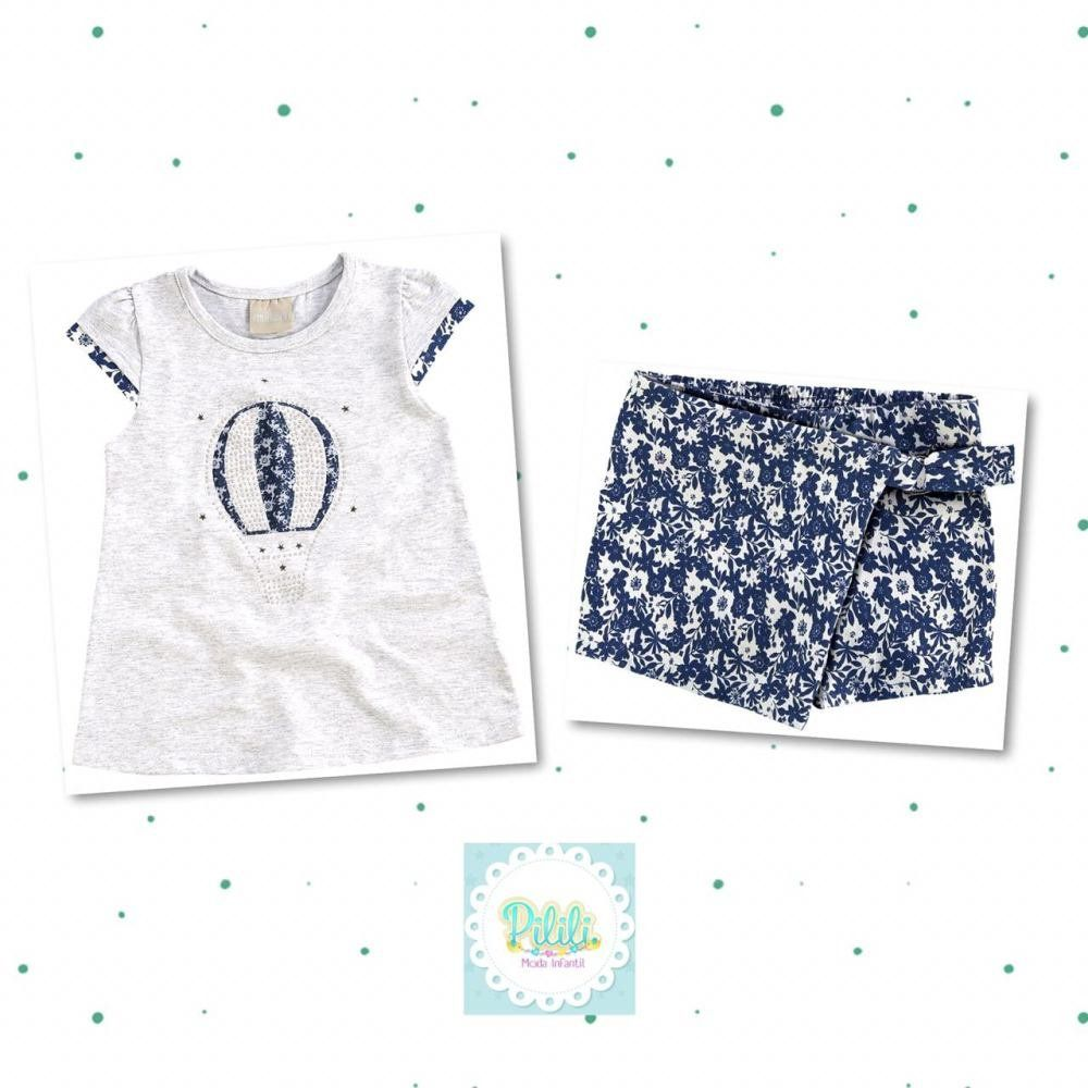 Conjunto Milon Blusa em Cotton e Shorts em Sarja Leve