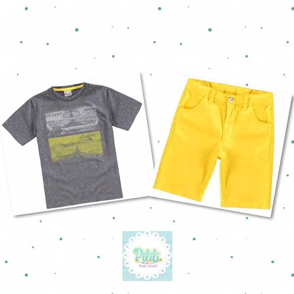 Conjunto Milon Camiseta 100% algodão e Bermuda de Sarja
