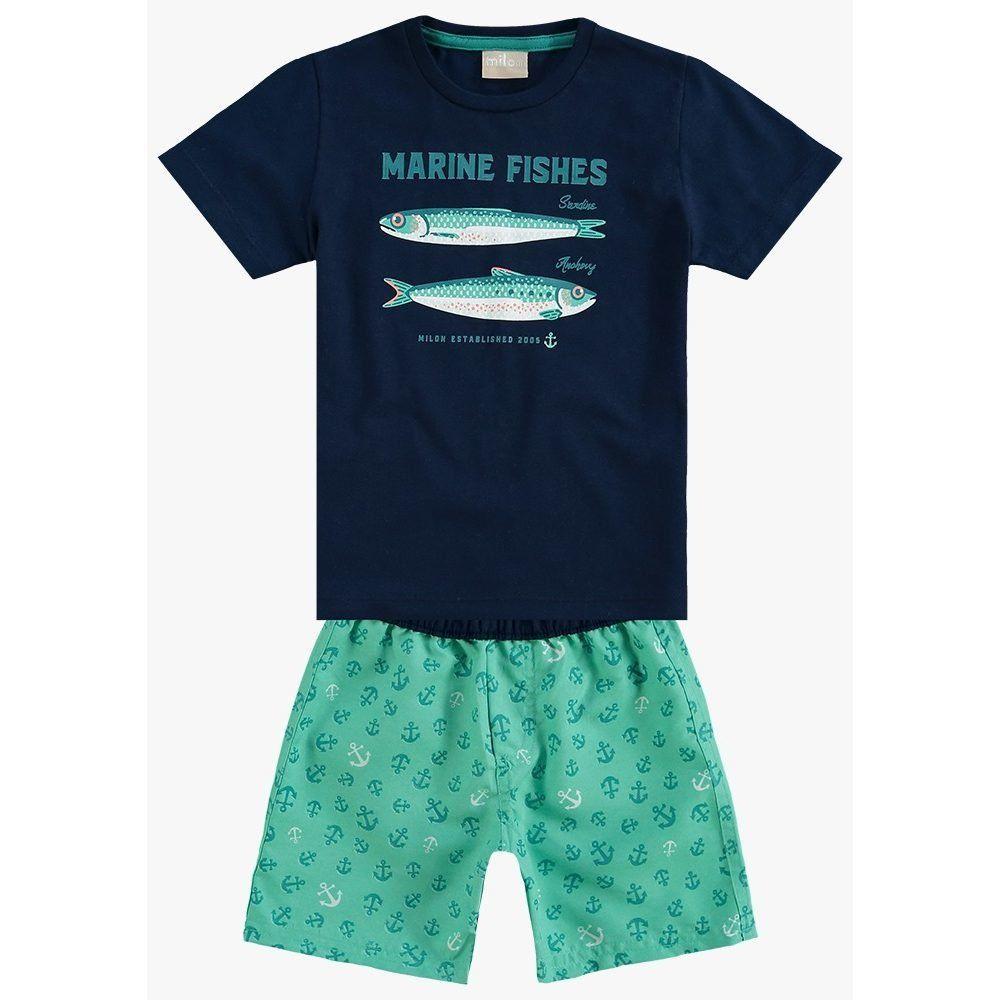Conjunto Milon Camiseta algodão e Bermuda Microfibra