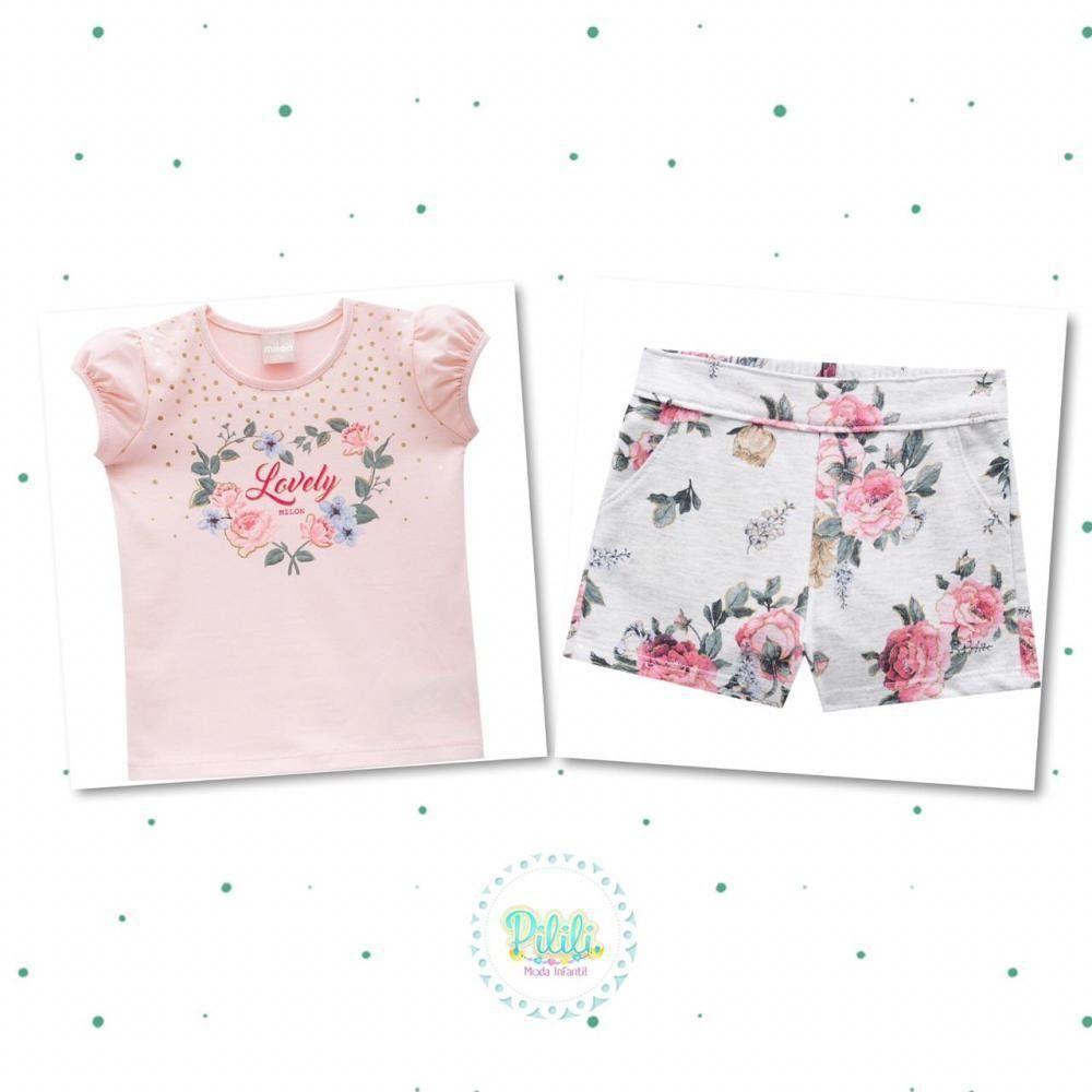 Conjunto Milon Menina Blusinha em Cotton e Short em Moletinho