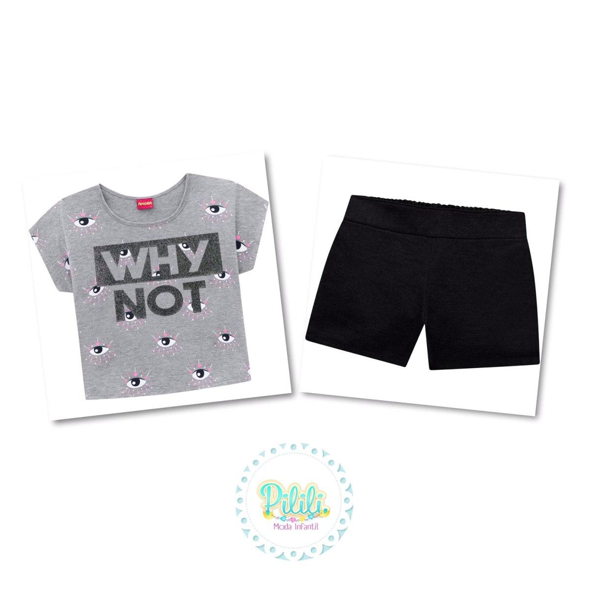 Conjunto Teen Amora Cropped e Shorts - Mescla
