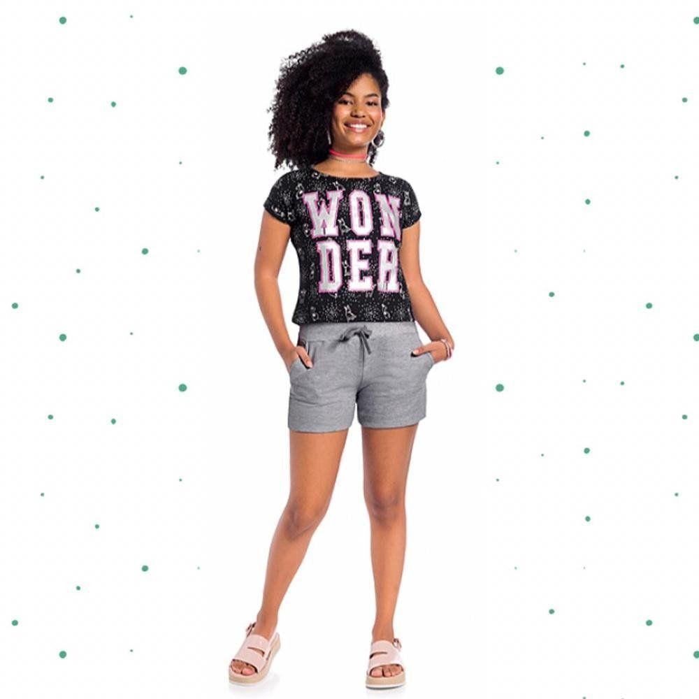 Conjunto Teen Amora Cropped em 100% Algodão e Short em Moletom