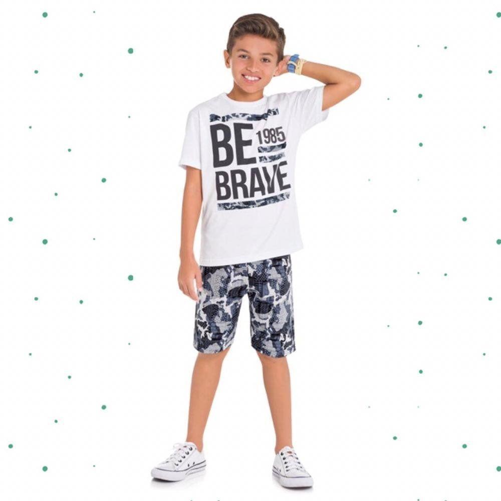 Conjunto Teen Masculino Kyly Camiseta em Algodão e Bermuda em Moletom