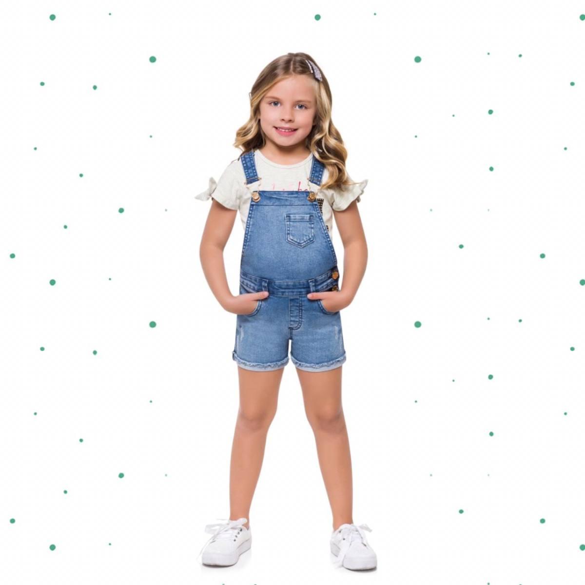 Jardineira Infantil Milon em Jeans com Elastano