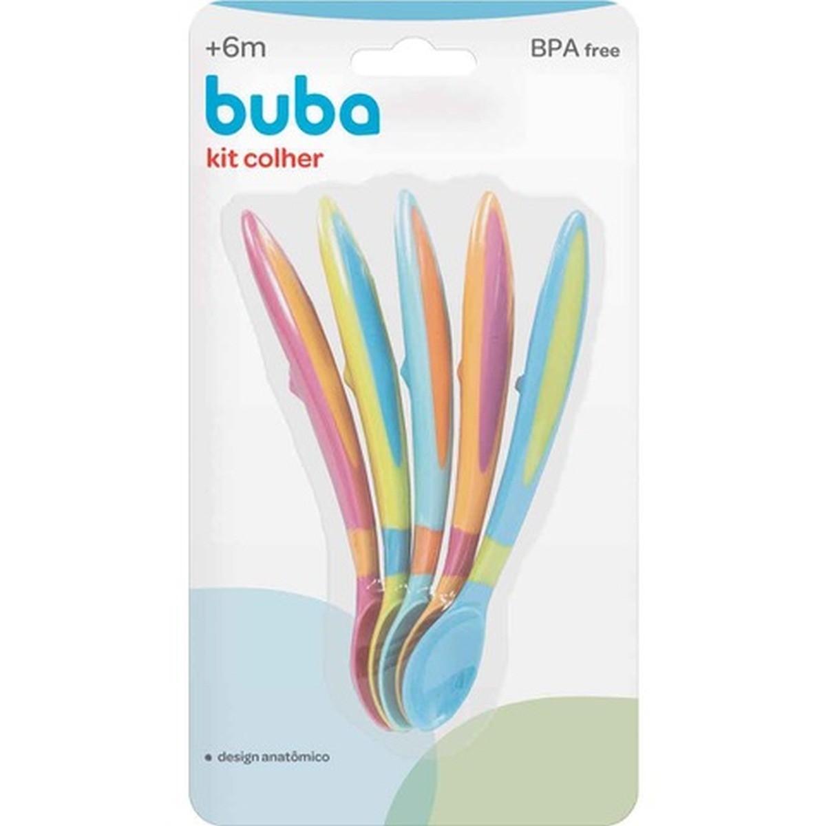 Kit 5 Colheres Coloridas Divertidas Para Bebê Buba