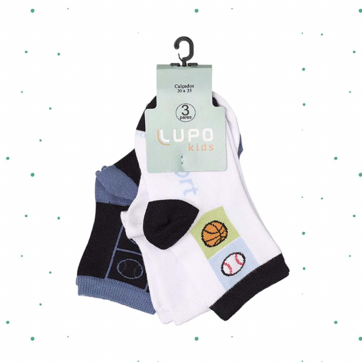 Kit Infantil 3 Pares de Meias Lupo Kids2630-906