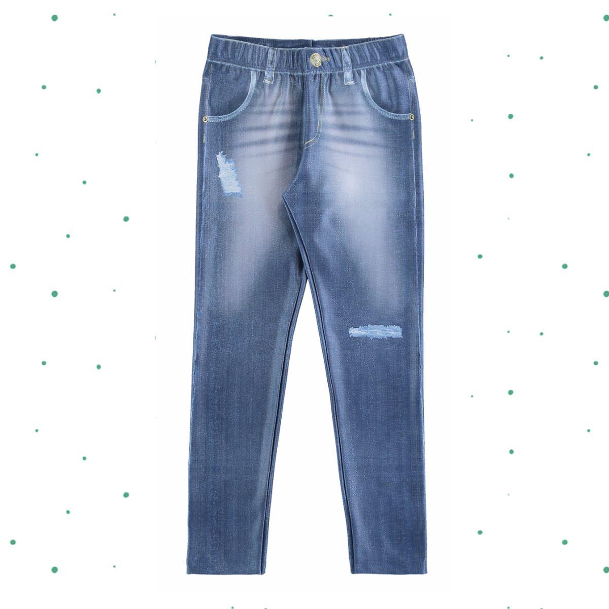 Legging Menina Glinny em Malha Térmica Imita Jeans