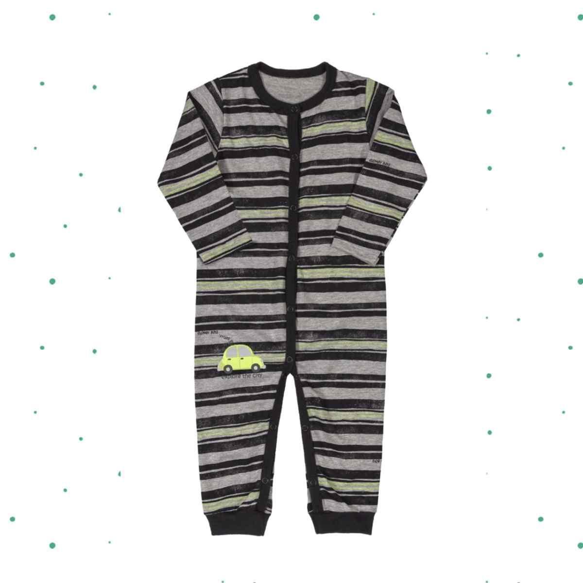 Macacão Bebê Menino em 100% Algodão Estampa com Neon e Puff