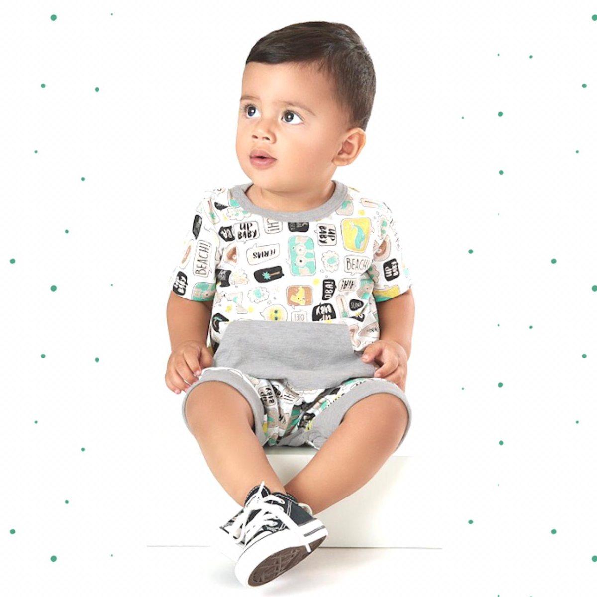 Macacão Bebê Menino Up Baby em Algodão Off White
