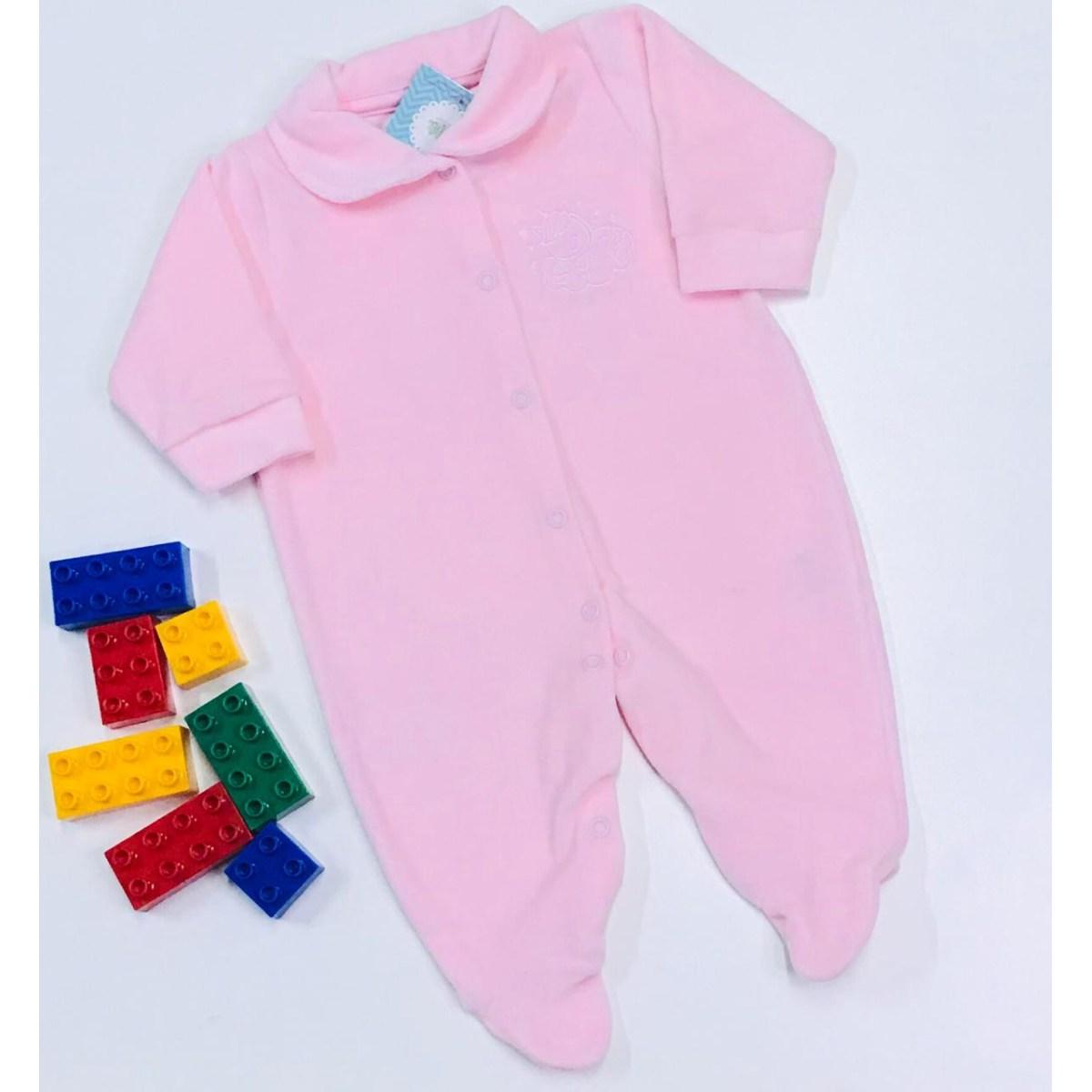 Macacão Bebê Odicon em Plush na cor Rosa