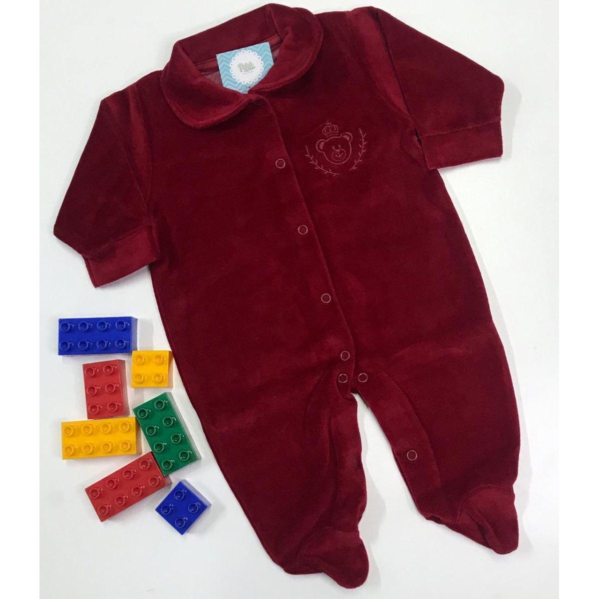 Macacão Bebê Odicon em Plush na cor Vermelho