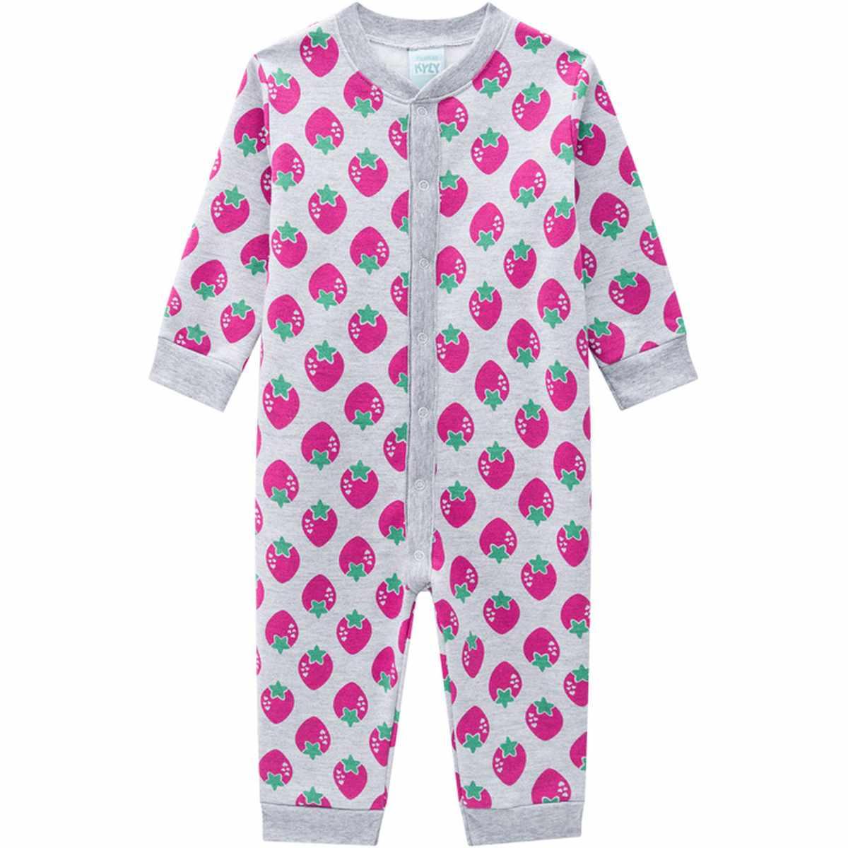 Macacão Pijama Bebê Menina em Moletom Peluciado Mescla White