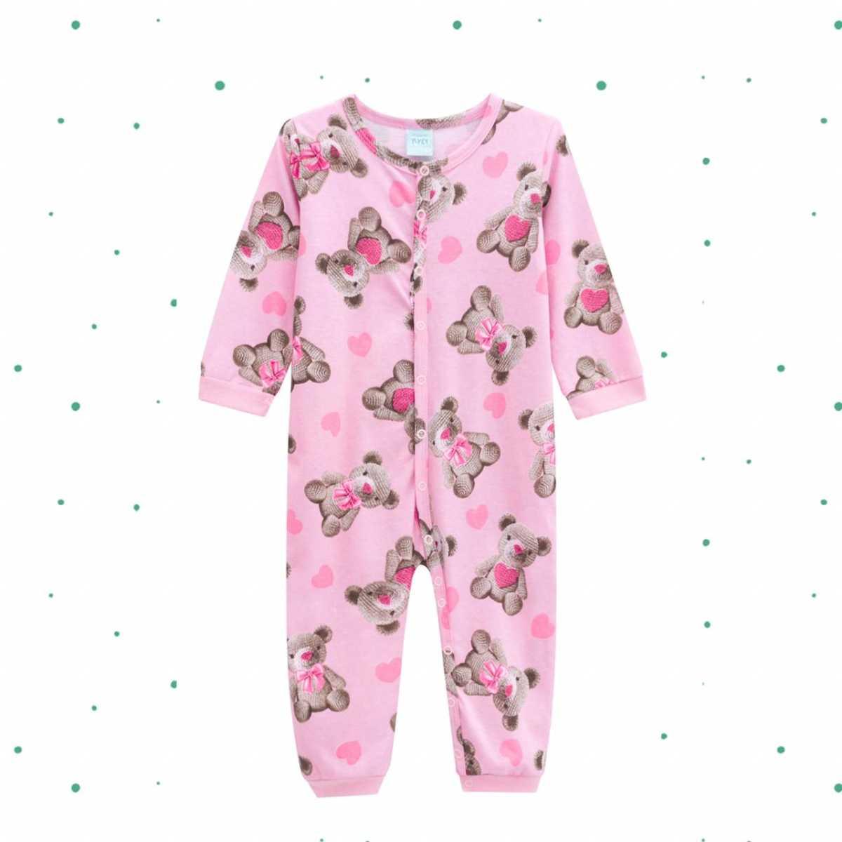 Macacão Pijama Bebê Menina Kyly em 100% Algodão