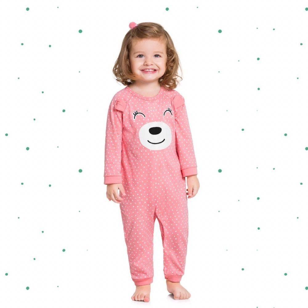 Macacão Pijama Bebê Menina Kyly em 100% Algodão com Estampa que Brilha no Escuro