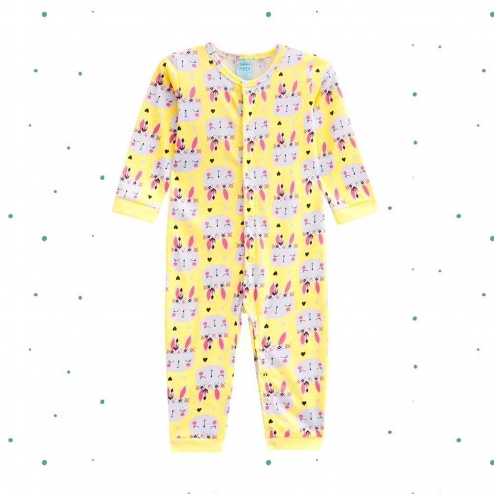Macacão Pijama Bebê Menina Kyly em 100% Algodão Estampado