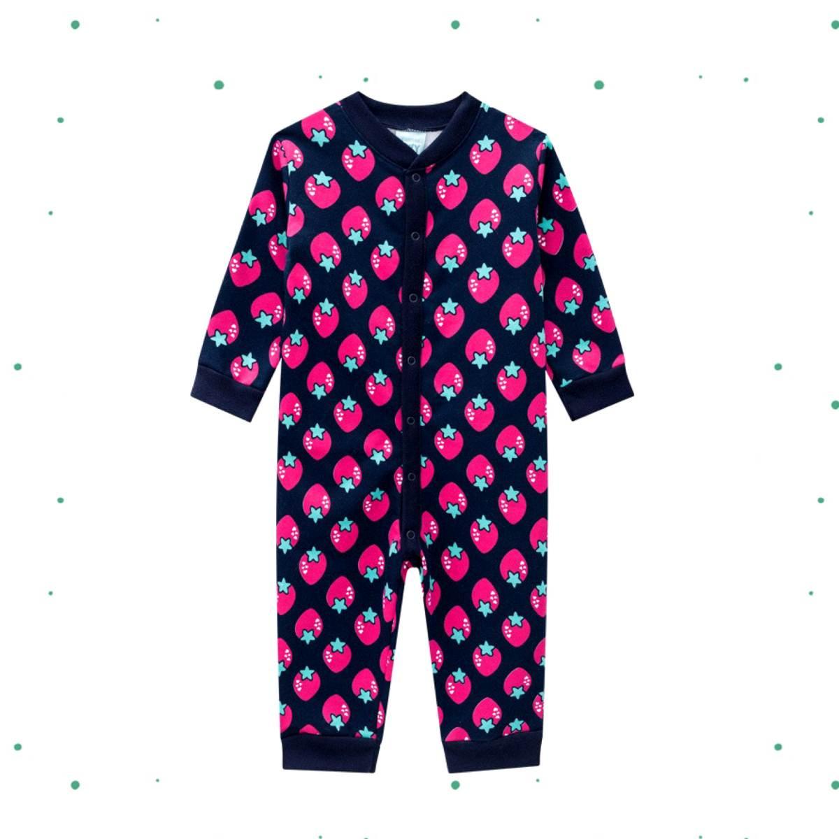 Macacão Pijama Bebê Menina Kyly Moletom Peluciado Marinho